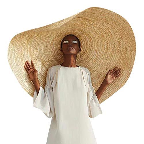 onnenschutz) ♛ Damen und Herren Übergroßer Strandhut Anti-UV Caps, Hut aus Stroh für den Sommer am Strand oder im Urlaub, Faltbar Strohhut, Farbe Natur (27x27X9CM, Khaki) ()