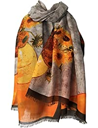 Purple Possum Scarf Yellow Sunflower Print Ladies Orange Brown Wrap Womens Floral Sunflowers Shawl