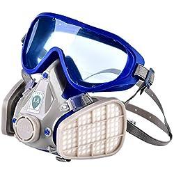 Respirateur facial complet - Respirateur facial de silicone, lunettes de masque à gaz en particules, antipoussière chimique