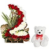 FloraIndia Peace and Love Arrangement of 16 Red Roses and 16 White Carnations Basket with a Cute Teddy (Bunch of 32) best price on Amazon @ Rs. 1645