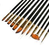 Set di 12 pennelli da artista con setole sintetiche di zibellino per pittura acrilica, olio, acquerello, gamma completa di dimensioni e forme
