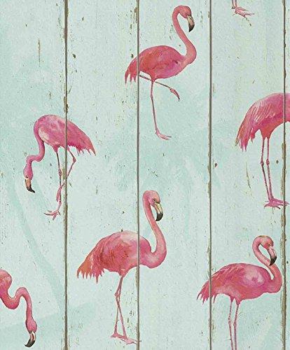 tapete-flamingos-auf-holz-53cm-x-1005m-vliestapete-rapportversatz-3200-cm-hoch-waschbestndig-lichtec