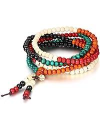 Flongo 6mm Bois Bracelet Lien Poignet Collier Chaîne Tibétain Bouddhiste Cinq Couleurs Santal Perle Prière Mala Chinois Noeud Élastique Homme,Femme