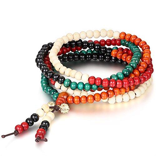 Flongo Armband Gebetskette Halskette, 6mm Breit Sandelholz Gebetskette Mala Armband Halskette Kette Mehrfarbig Tibetisch Buddhismus Vajra Meditation Elastisch...