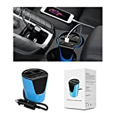 Exxacttorch Car cup holder charger 2-Socket Cigarette Lighter Power Adapter for Phone 6s