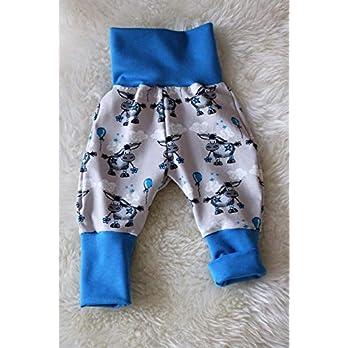 Baby Pumphose Schlupfhose newborn Gr. 56-68 Esel blau grau