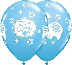 Qualatex 45442es un niño elefantes redondo globos de látex, azul pálido, 11pulgadas, 25piezas