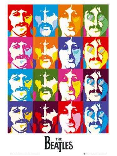 Los Beatles John Lennon Paul Mccartney mar de Colores Pop Art Estilo Regular música Póster de 40x 50cm