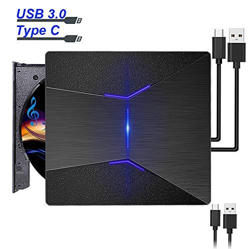 Externes DVD Laufwerk USB, NEUFLY CD DVD Laufwerk Externe USB C und USB 3.0 Tragbar CD-RW Brenner für MacBook OS Windows Linux Vista PC für Apple MacBook Pro/Air/iMac - Macbook Air Cd-dvd-laufwerk Externer