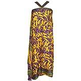 Mogul Interior Magic Wrap Skirt Paisley Printed Silk Sari Beach Reversible Long Skirts