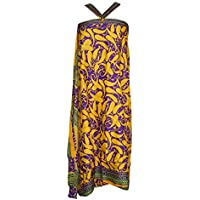Mogul Interior Magic Wrap Skirt Paisley Printed Silk Sari Beach Reversible Long Skirts