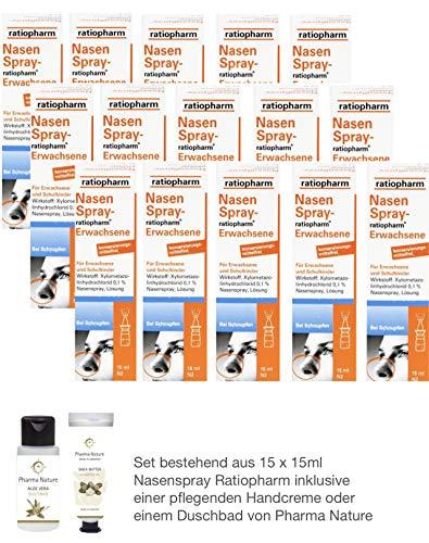 Nasenspray Ratiopharm 15er Sparpackung - 15 x 15 ml - inkl. einer hochwertigen Handcreme o. Duschbad von Pharma Nature
