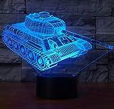 3D Nachtlicht,SUAVER 3D Optische Täuschung LED Lampe, Touch Dimmbare LED Tischleuchte 7 Farbwechsel Schreibtischlampe, USB Nachtlicht Atmosphäre Lampe (Panzer)