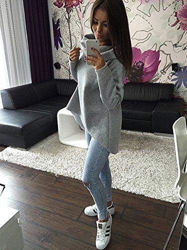YouPue Femmes Casual Manche Longue Coton Pullover Sweatshirt Tops Chandail Gris