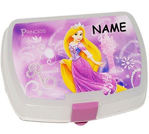 """Preisvergleich Produktbild Brotdose - """" Disney - Rapunzel """" - incl. Name - Lunchbox / neu verföhnt Prinzessin - Kinder Vesperdose - Brotbüchse Küche Essen - für Mädchen - Brotzeitdose / Schmetterlinge Märchenschloß - Dose Box leicht transparent"""