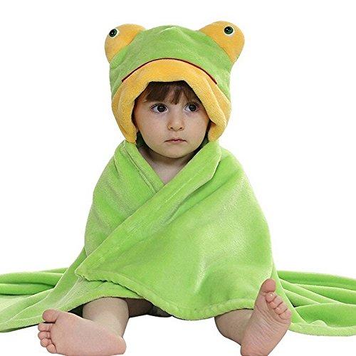 CORLISS Unisex Baby Dusche Blanket Bademantel Wrap Handtuch Kapuzen Umhang Schlafanzüge(FBA) (#01 Grün Frosch)