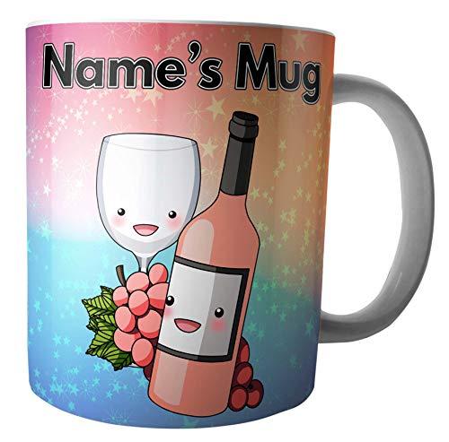 Tasse à vin rose et raisins - Cadeau personnalisé - Ajoutez n'importe quel nom