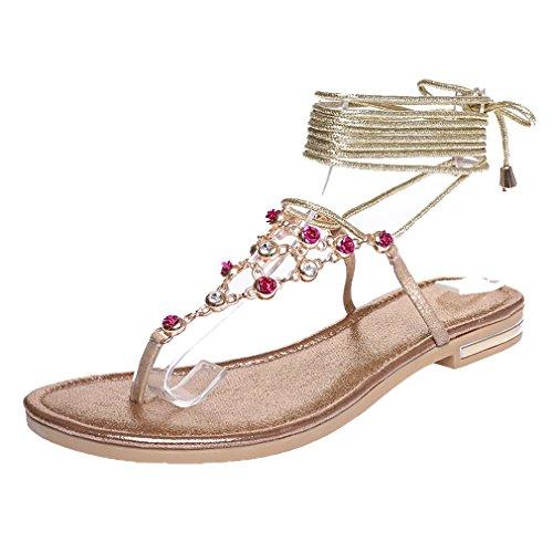 YE Damen Riemchen Offen Zehe Ohne Absatz Sommer Flach Sandalen mit Schnüren und Strass Bequem Schuhe Gold