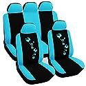 WOLTU AS7250bl Universal Schonbezüge für Auto Sitzbezüge Sitzschoner Abdeckung Auflage Schutz, Butterfly Stickerei, schwarz-blau