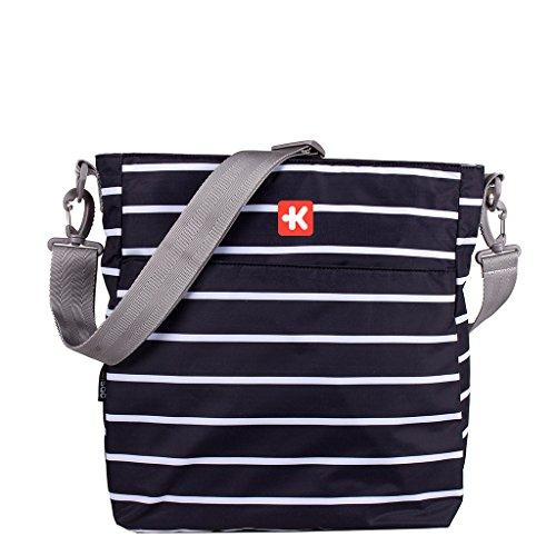 Kiwisac Happy Trip Bolso de Silla de Paseo Unisex con un Diseño Estampado de Rayas/Bolso para Carro Bebé para Pañales con Bandolera Ajustable, Color Negro