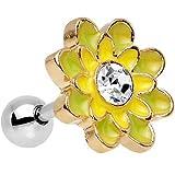 """BodyCandy Acero Transparente Accent Amarillo Marigold Flower Pendiente Cartílago Calibre 16 5/16"""""""