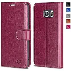 OCASE Samsung Galaxy S7 Hülle, Handyhülle Samsung Galaxy S7 [Premium Leder] [Standfunktion] [Kartenfach] [Magnetverschluss] Leder Brieftasche für Galaxy S7 Burgundy