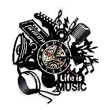 QUTICL 1Piece Strumenti Musicali Orologio da Parete da Parete La Vita è Musica Ombra Arte Musica Decorazione della Stanza Idee Regalo Unico per Musicista Rock