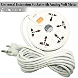 #4: Linetek High Quality Universal Extension 5 Point Socket Board With Analog Volt Meter LTK -156 5M
