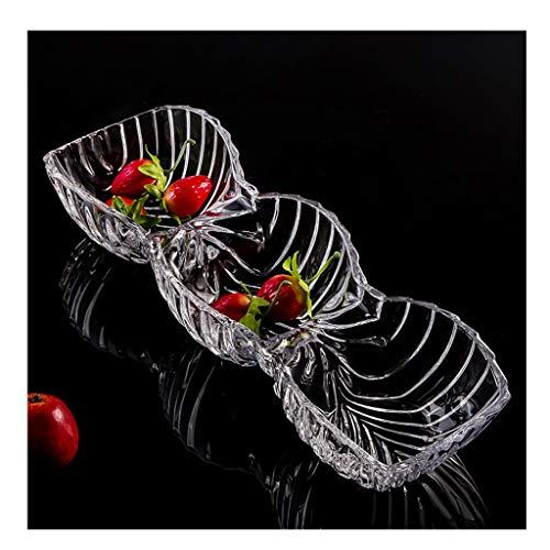 IYAN-PLATE Geteilte Obstteller/Europäische Kreative Candy Dish Getrocknete Obstteller/Wohnzimmer Obstteller Kristallglas Obstschale (Size : XL) 3 Footed Candy Dish