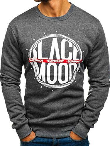 BOLF Herren Sweatshirt Pullover Rundhalsausschnitt Motiv Aufdruck Street Style J.Style DD285 Dunkelgrau M [1A1] | 05902646931647