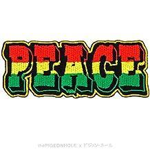 [hacer el amor, no la guerra] occidental 'paz' (Rasta), color negro–texto insignia hierro en, coser–Parche bordado, diseño de regalo, recuerdo, Applique # corazón salvaje oeste vaquero Sheriff Desperados pistola mediodía Old postre