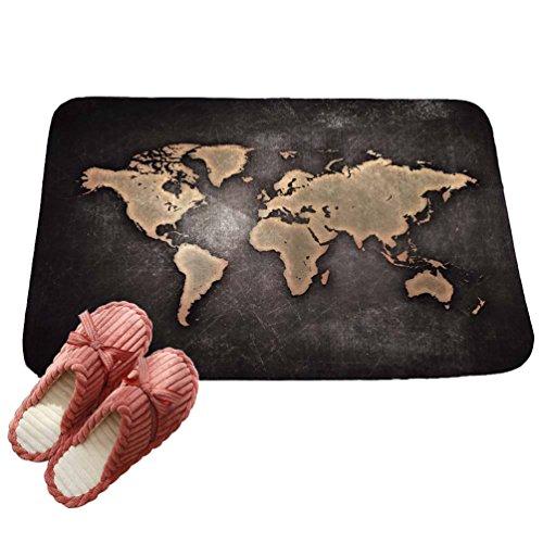 LvRaoo Fußmatte für Außen und Innen Rutschfest Karte gedruckt Teppiche Läufer Fußabtreter Fußabstreifer (# 10, 60 * 40cm)