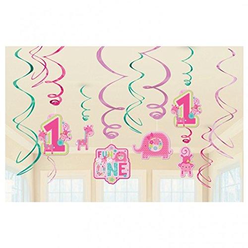 Geburtstag 1 Mädchen Dekorations Girlande 12 x Swirlhänger 12er Set