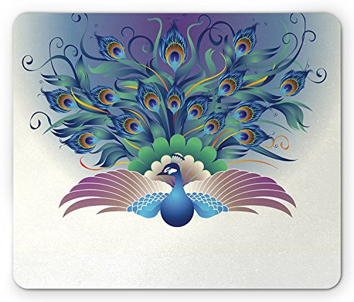 Peacock Mouse Pad by, Ornate Peacock with Majestic Tail Feather Dangling Around Birds Wing Illustration, Standard Size Rectangle Non-Slip Rubber Mousepad, ()