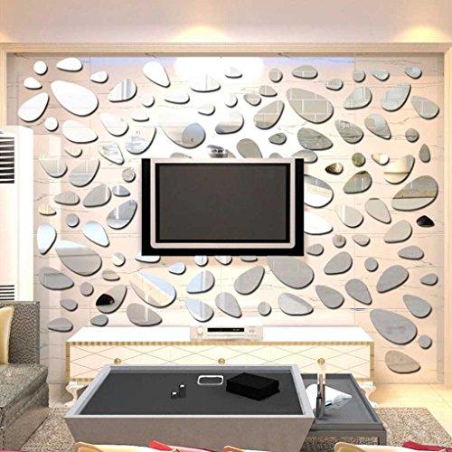 Shaream Haus und Küche 12pcs / Set 3D Cobblestone Abnehmbarer Spiegel Wandaufkleber Gelegt Spiegelwand Zunge Aufkleber