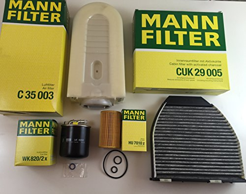 MANN-FILTER FILTER SET ÖLFILTER LUFTFILTER AKTIVKOHLEFILTER KRAFTSTOFFFILTER W212 S212 W204 S204 CDI - bitte Einschränkungen beachten -