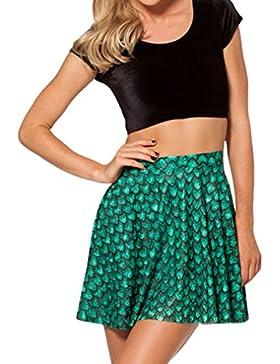 Honghu Verano Retro Impresión Mini Falda para Mujer