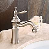Basin Wasserhahn/European-Style Gebürstet Waschtisch Wasserhahn/Retro Heißen und Kalten Waschbecken Wasserhahn/Bad rotierenden Wasserhahn