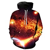 WEIYIGE Sweatshirt 3D Star Digital Print Kapuzenpullover mit Rollkragen Herren Cap Herren Sweater - XL