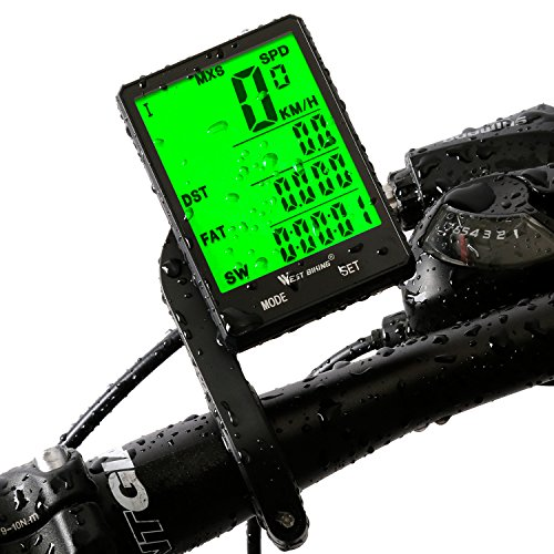West Biking, computer da bicicletta con schermo LCD retroilluminato da 2,8', sensore di movimento senza fili, impermeabile, per monitoraggio velocità e distanza, cronometro, tachimetro, contachilometri (cablato, wireless), Bambino Uomo donna, wireless computer