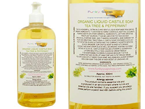 Organisch Flüssig Kastilien Seife, Tee Baum / Pfefferminze 100% Natur SLS Frei 500ml (Kastilien Seife Teebaum)