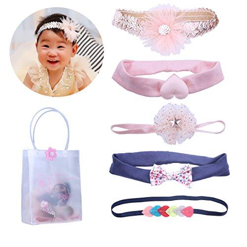 kimmyku Vintage Baby Headbands Turban Haar Bögen Zubehör Strassbesatz Haarspangen für Säuglinge Kleinkind Kinder Mädchen (Glitter Haar Bögen)