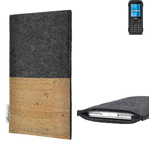flat.design Handytasche Evora mit Korkfach für Energizer H240S - Schutz Case Etui Filz Made in Germany in hellgrau mit Korkstoff - passgenaue Handy Hülle für Energizer H240S