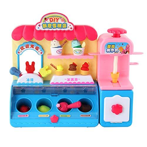 Cream Ice Kostüm Kinder - Fenteer Kinder Rollenspiel Lebensmittel Eiscreme Laden mit Licht und Musik Rollenspielzeug für Kinder ab 3 Jahren