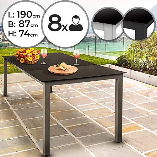 MIADOMODO Gartentisch für bis zu 8 Personen | aus Aluminium und Sicherheitsglas, L/B/H: ca. 190/87/74 cm | Glastisch, Beistelltisch, Gartenmöbel, Terrassemöbel, Balkonmöbel (Hellgrau)