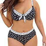 7e882abfa677f7 Riou Sexy Bikini Damen Set für Mollige Große Größen High Push Up Waist  Punktdruck Zweiteilige Bikinis Cover Up Sommer Sport Große Cups Brüste  Bademode mit ...