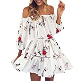 OHQ Gedruckt Kleid für Frauen Damen Sommer Aus Blumendruck Sommerkleid Party Strand Kurze Röcke Frauen Mid Short Desigual Weiß (M)