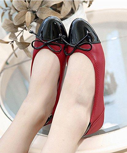 Aisun Damen Lack Lederoptik Schleifen Flache Schuhe Ballerinas Rot