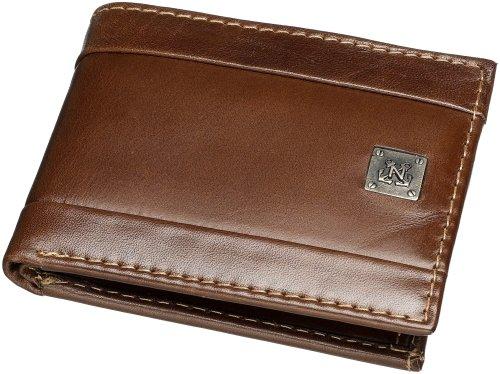 Nautica Men's Leather Passcase Bifold Wallet,Brown,