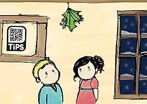 Biglietto d'auguri Natale originale con QRcode personalizzabile, sotto il vischio